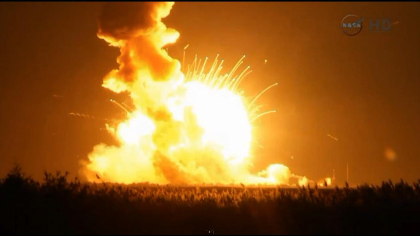 The Antares rocket carrying Cygnus Orb-3 explodes upon impacting the ground, shortly after suffering a catastrophic failure after launch.