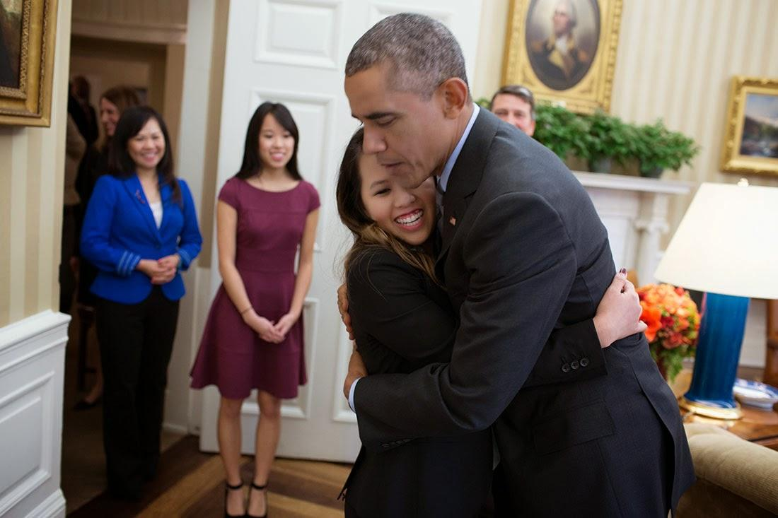 Ebola-free nurse Nina Pham visits President Obama in the White House.