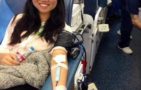 Students help others by donating blood