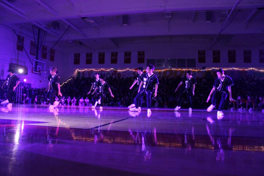 Dance+team+displays+a+combined+effort+at+the+winter+pep+rally.+