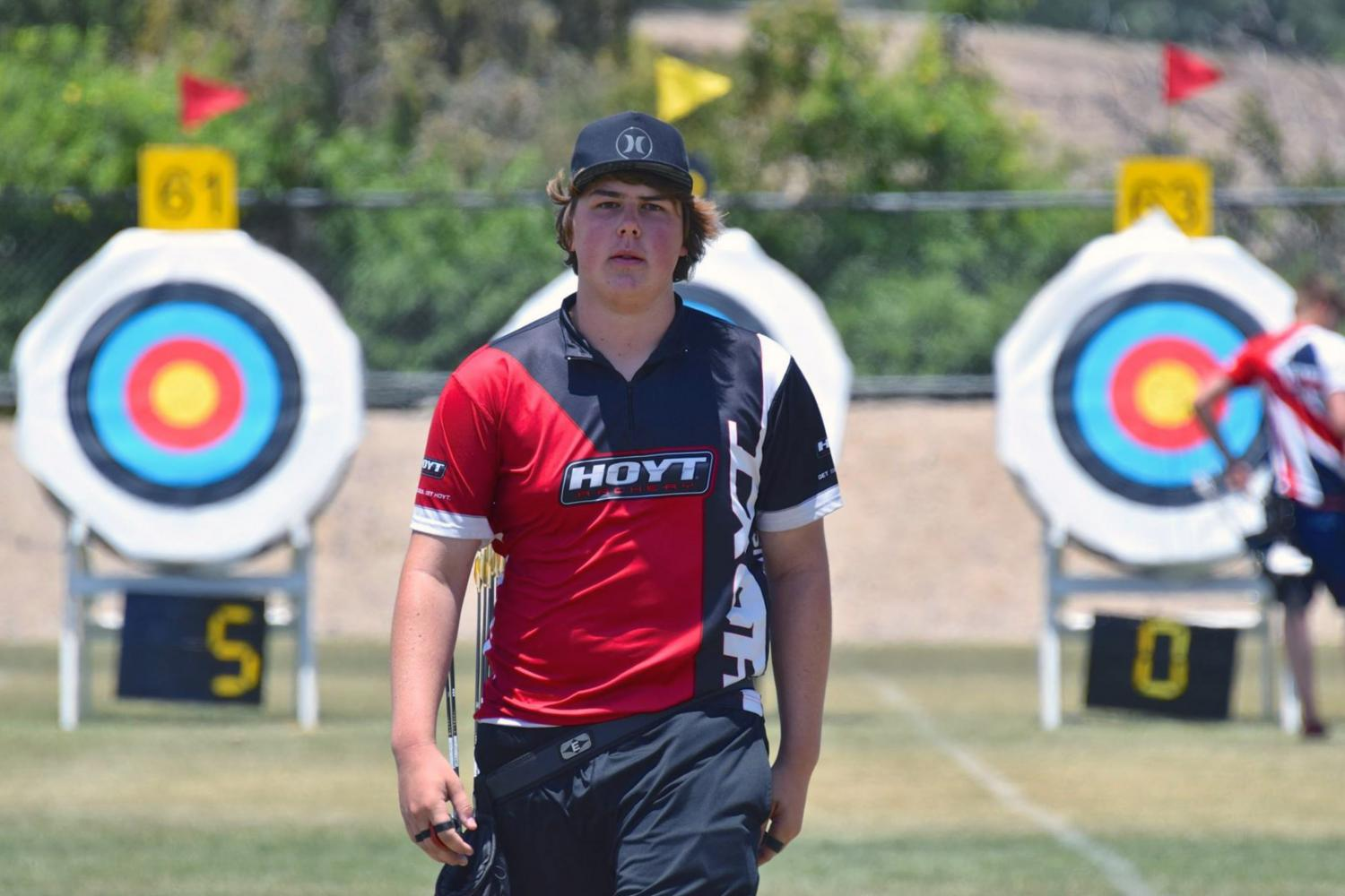 Olympic+hopeful+Jack+Williams+steadies+his+hands+for+a+precise+shot+at+the+archery+range%2C+hoping+to+advance+his+archery+career.+