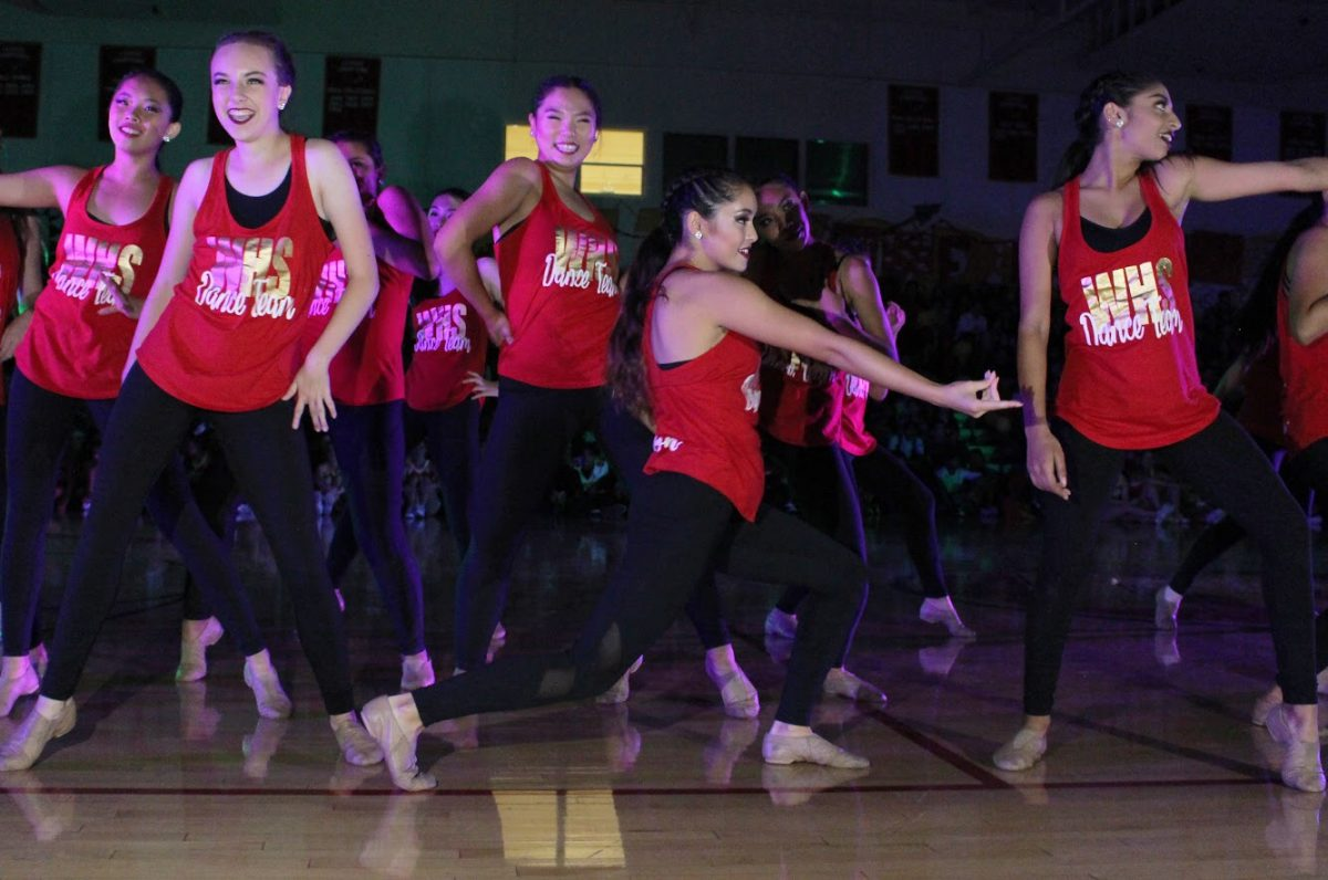 Dance+team+performs+a+routine+that+incorporates+multiple+styles+of+dance+during+the+fall+pep+rally.