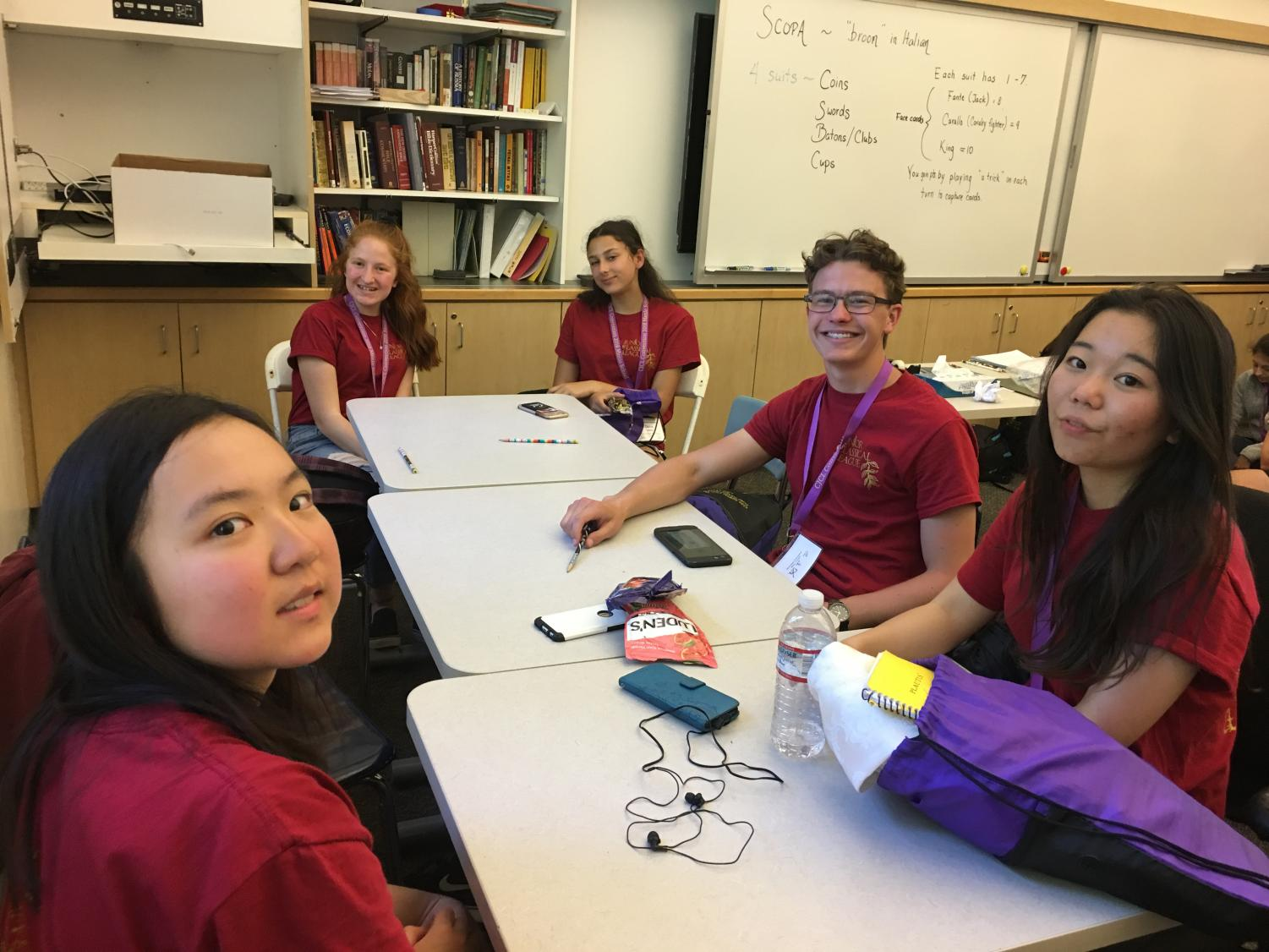 Junior Classical League (JCL) members prepare to participate in certamen, a Latin quiz game.