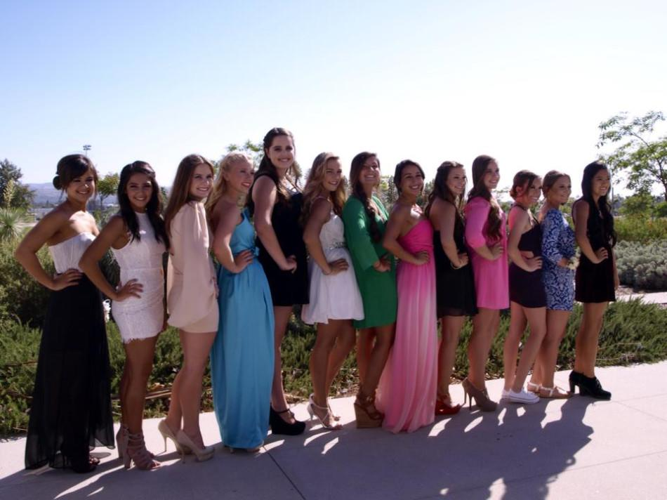 A+group+of+junior+girls+show+off+their+individual+styles+for+a+photo+before+prom.