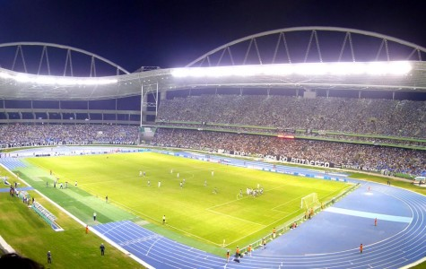 Rio de Janeiro's main Olympic stadium, which many in the country protest due to economic trouble with the Games.