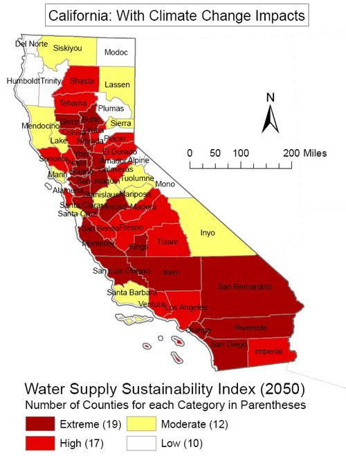 An info graphic shows the water sustainability index in California.