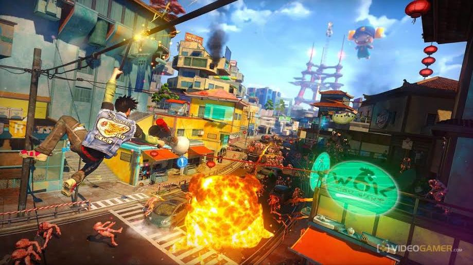 The+new+game+%22Sunset+Overdrive%22+features+intricate+and+colorful+game+design.