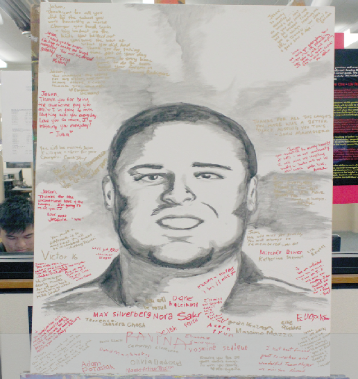 Students commemorate Van Leuven with a memorial drawing on display in the media center.