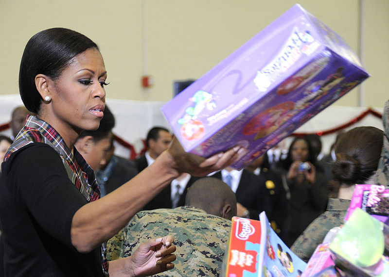 First lady Michelle Obama visits Joint Base Anacostia-Bolling, to sort toys for the Toys for Tots charity.