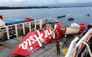 The tail section of AirAsia flight 8501, which was found in the ocean, few days ago, was raised to the surface of the water.