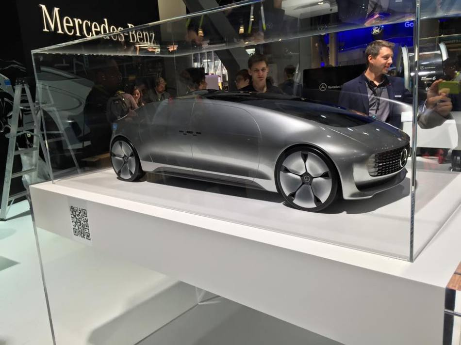 The new self-driving Mercedes car model at the CES Consumer Electronic Show in Las Vega