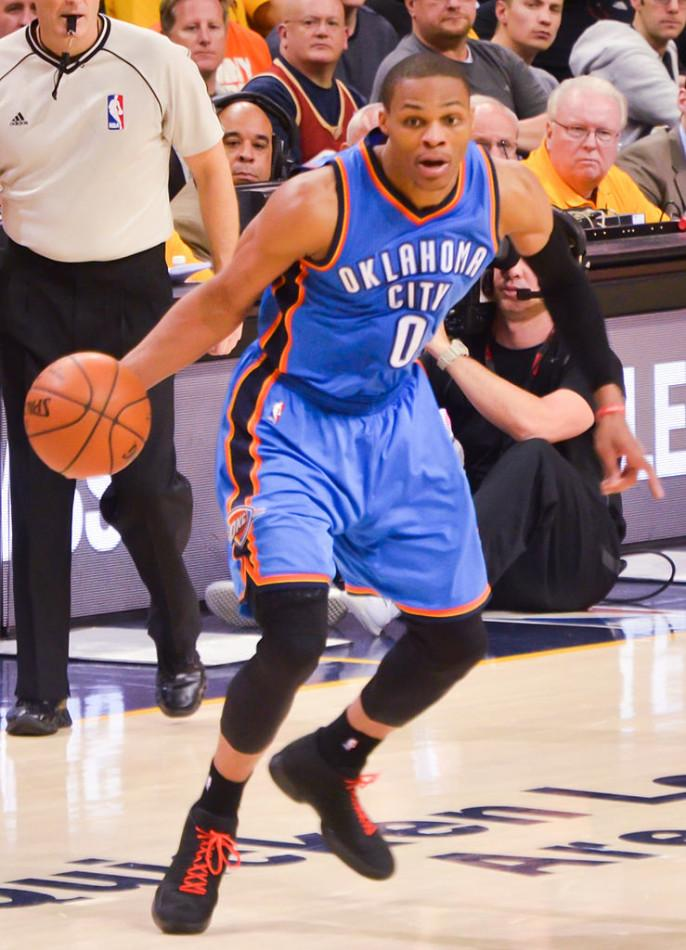 Russell+Westbrook%2C+a+guard+for+Oklahoma+City+Thunder+dribbles+during+the+NBA+All-Star+weekend+in+New+York+City.+