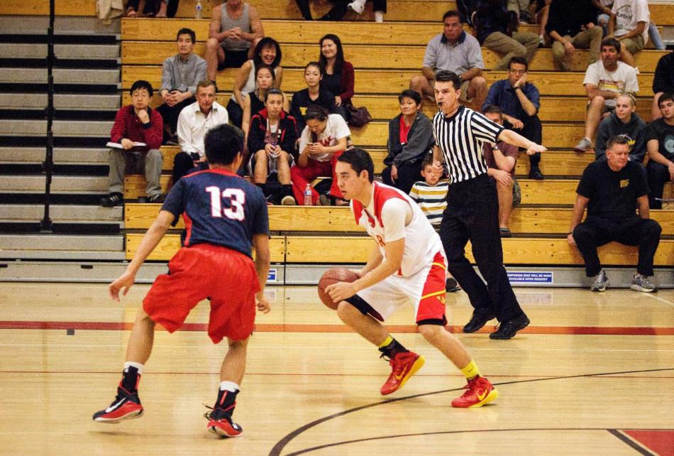 Sophomore Evan Maggard (right) pushes right past a Beckman player, dribbling down the court.