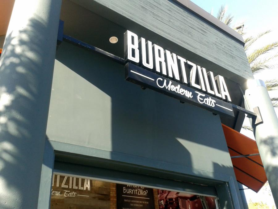 The welcoming and simple exterior of the new eatery Burntzilla