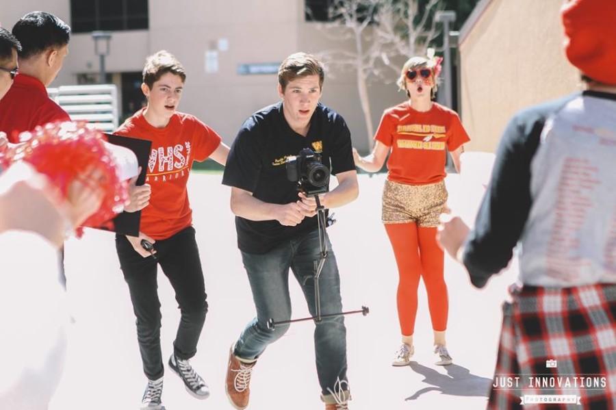 Junior Dan Lesser and senior Austin Prock during the filming of the lip dub video.