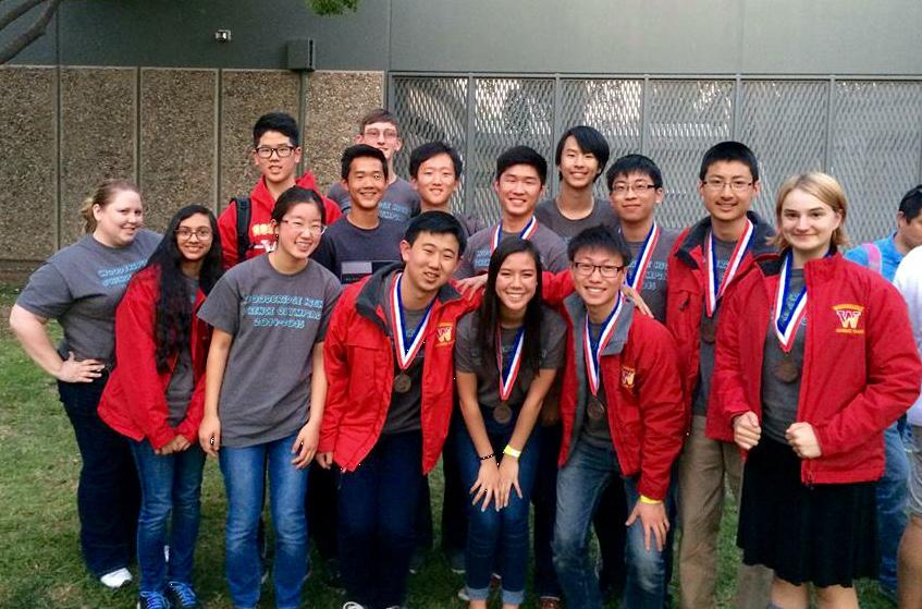 Members of the Science Olympiad team proudly display their medals after a successful competition at Canyon High School in Anaheim.