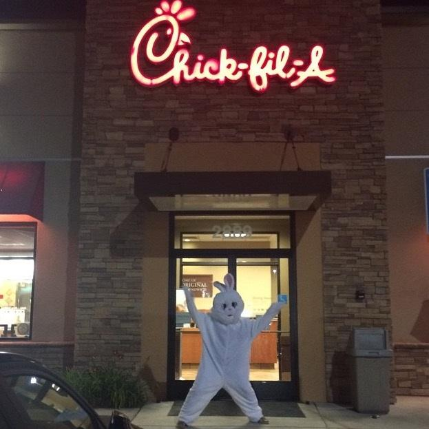 Junior Tessa Chimits went to Chik-fil-A in a bunny suit.