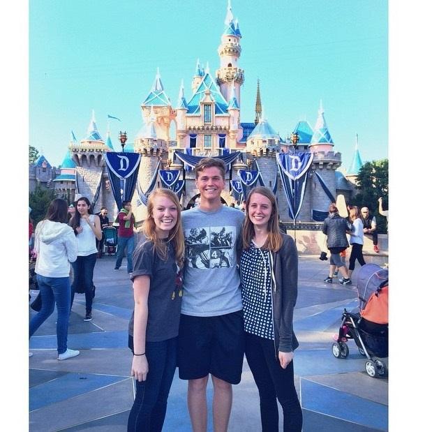 Junior Sophie Huisken (left), junior Ryan Quiggle (middle), and senior Katie Peterson (right) went to Disneyland.