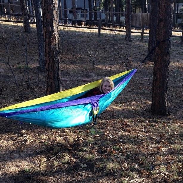 Sophomore Katie Jones hammocked in Colorado.