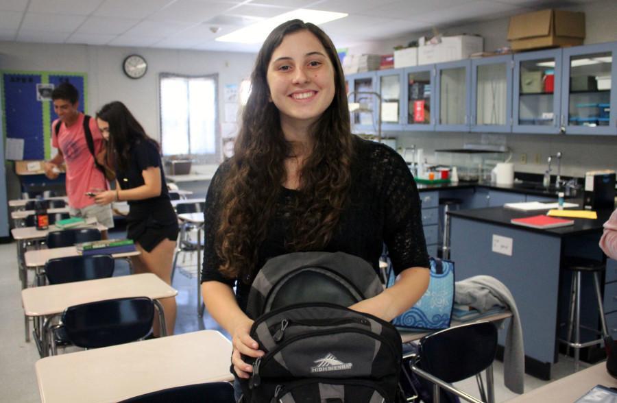 Brynn Hansen smiles in her class.