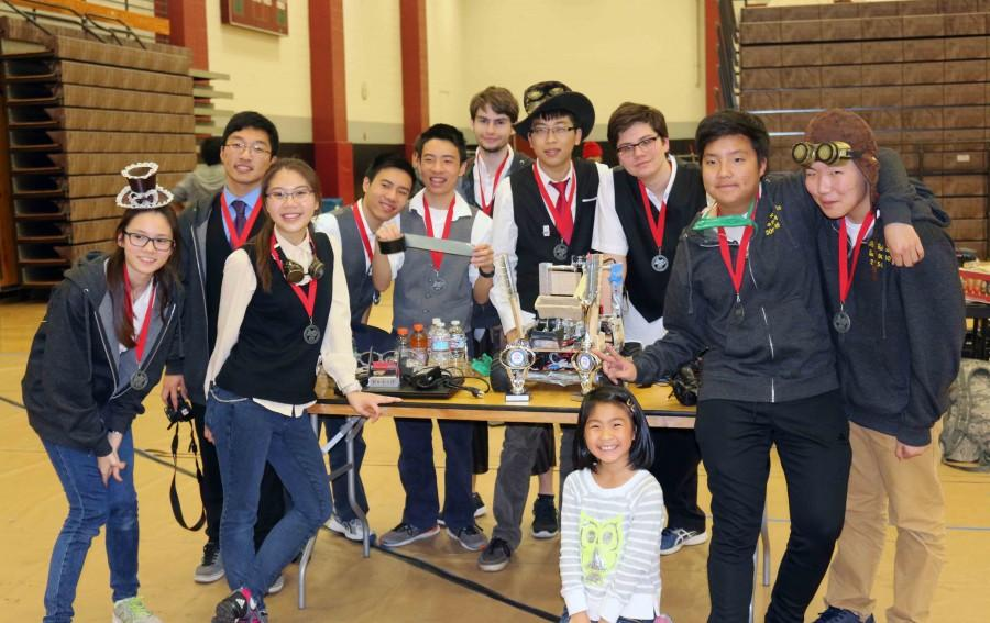 The+robotics+team+proudly+displays+its+hard-earned+first+place+medals+after+a+full+day+of+competition+at+the+First+Tech+Challenge+%28FTC%29+in+Los+Angeles+for+the+regional+finals+on+Feb.+27.