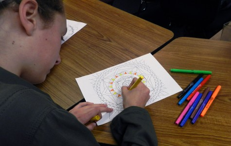 Special Education students join art students to create mandala designs