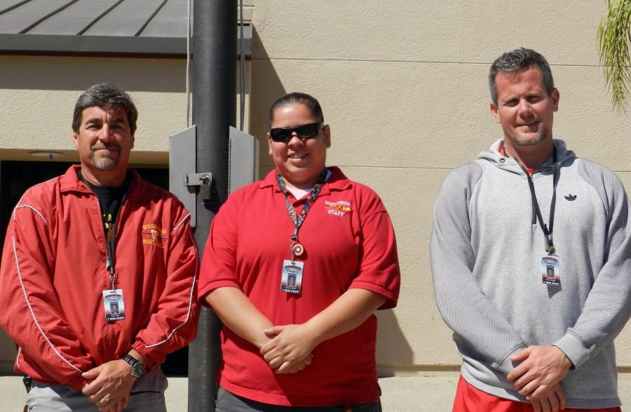 Security guards Jerry Rose, Jessica Castillo and Steve Scoggin  work to protect different sites on campus