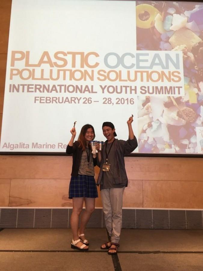 Seniors+Lauren+Kim+and+Jinno+Vicencio+stood+tall+as+they+represented+SUP+club+at+the+International+Youth+Summit+for+plastic+ocean+pollution+solutions