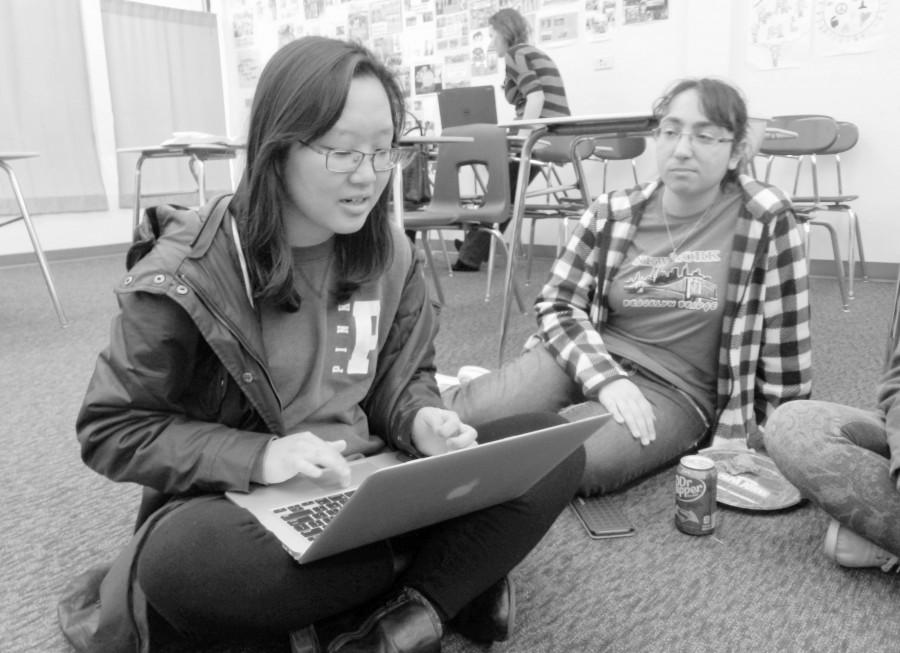 Seniors Irene Koo and Armine Dingilian work on the next project to prepare for TEDx Event
