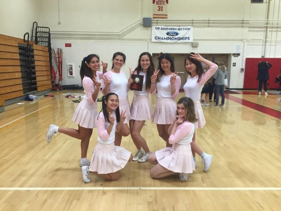 Seniors Eric Laveaga, Bella Vliss, Colette Cosyn, Lauren Kim, Alex Kim, (Bottom) Rini Jablonski and Nora Leavey channel K-Pop stars after winning crowd favorite at Air Guitar.