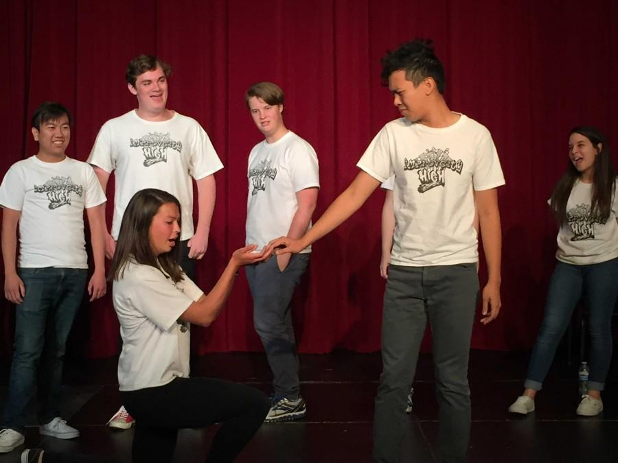 Juniors Christopher Lee, Matt Lindwall and Brick Yost watch sophomore Juanita Lopez and senior Jinno Vicencio demonstrate the worst things to say during a breakup.