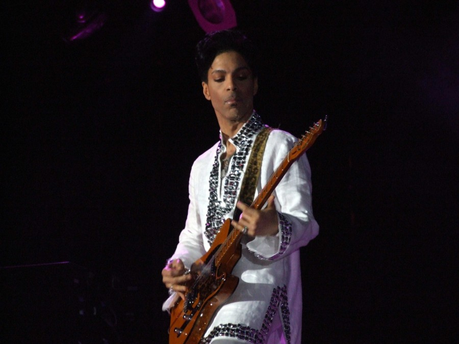 Prince performs at the Coachella festival in 2008, imbuing his performance with his signature panache.