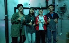 My team, Hiba Totakhail, Lillian Wu, Jubilee Pham and Bill Chang celebrating our victory