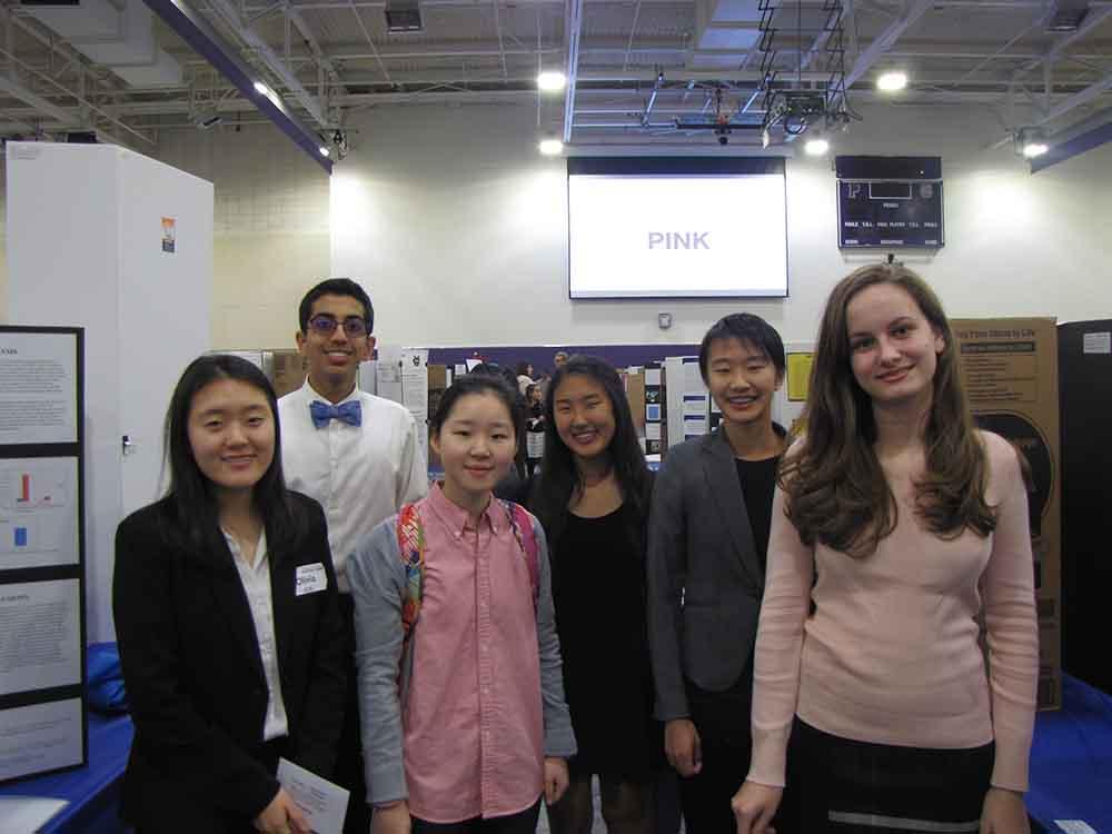 (Left to right) Junior Olivia Kim, sophomore Rohan Gorajia, sophomore Rachel Chae, Sophomore Emily Yu, sophomore Sarah Shimizu, sophomore Morgan Kopecky presented their research at the IUSD Science Fair at Portola High.