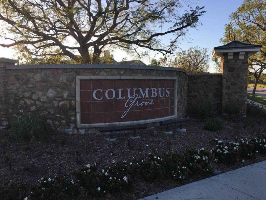 The Columbus Grove sign marks the entrance of the neighborhood.