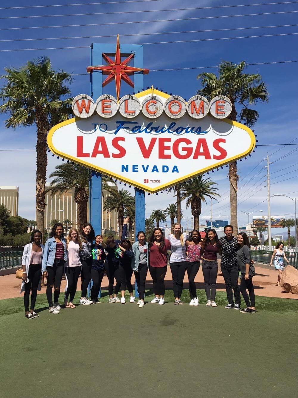 Color guard tours Las Vegas while competing at the regional championship.