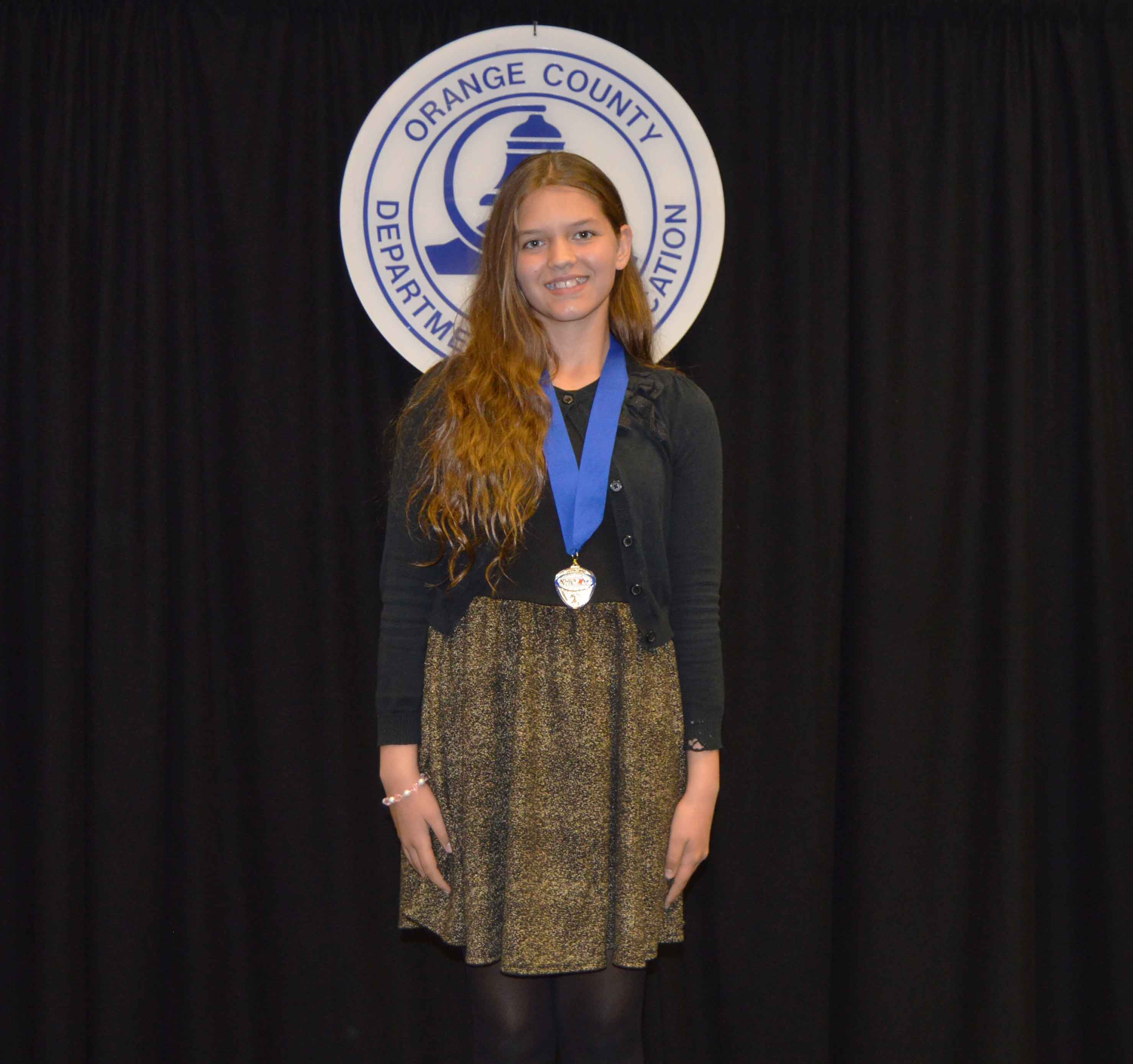 Freshman Naomi Hampton posed with a medal from the competition.