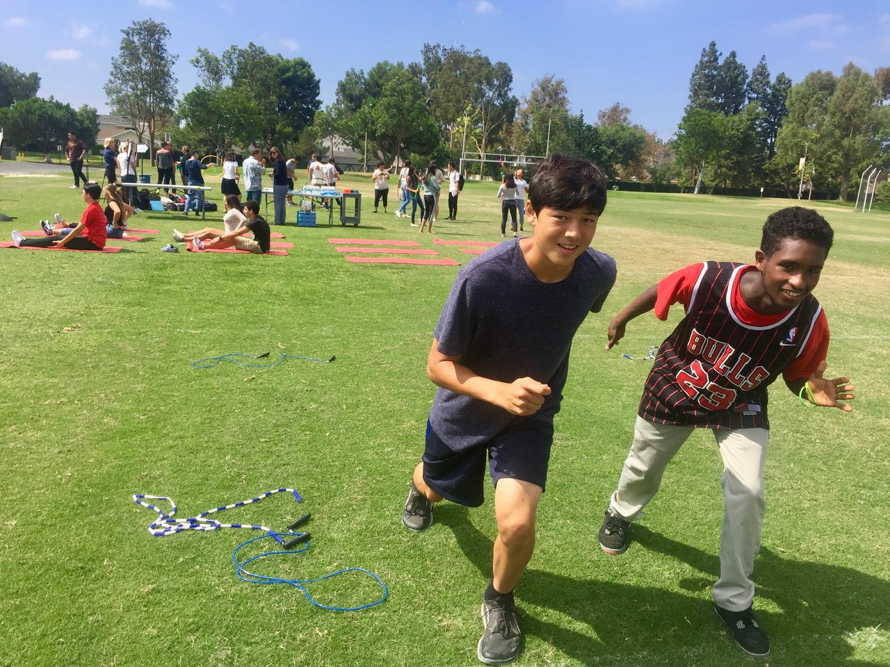 Ben Choi and Caleb Terefe, juniors, participate in activities during the Wellness Wednesday event.