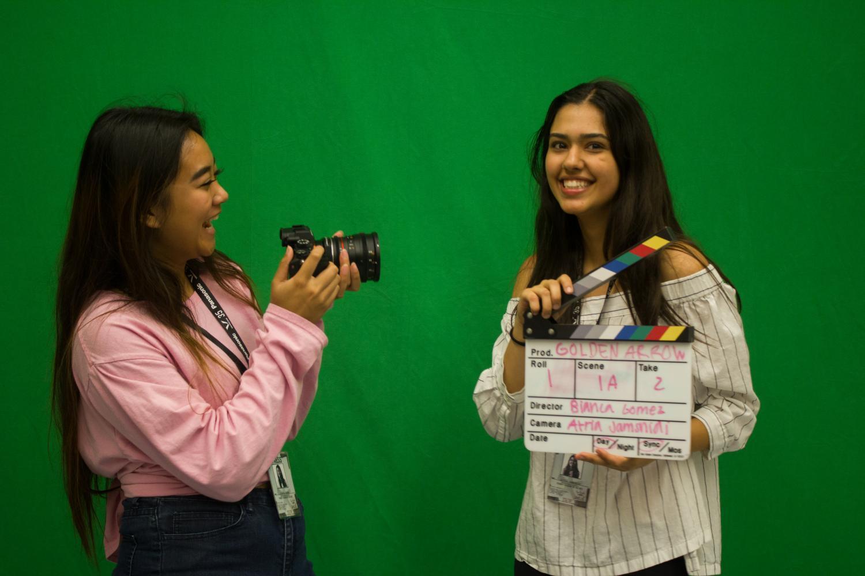 Seniors Bianca Gomez and Atria Jamshidi record memories through film.