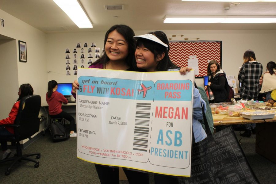 ASB President candidate Megan Kosai campaigns in the Golden Arrow room.