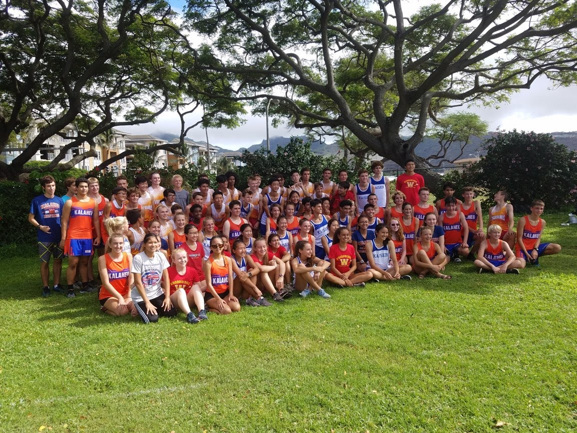 Photo Courtesy of Bryan Pacheco The 34 Woodbridge runners pose for a picture with fellow opponents from neighboring Hawaii high schools.