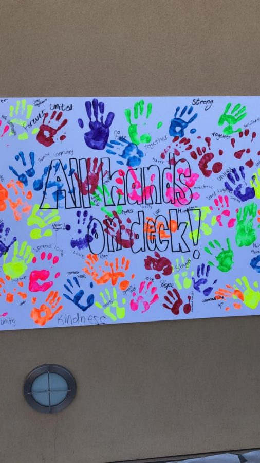 Students pledge to counter anti semitism with a hand printed banner.