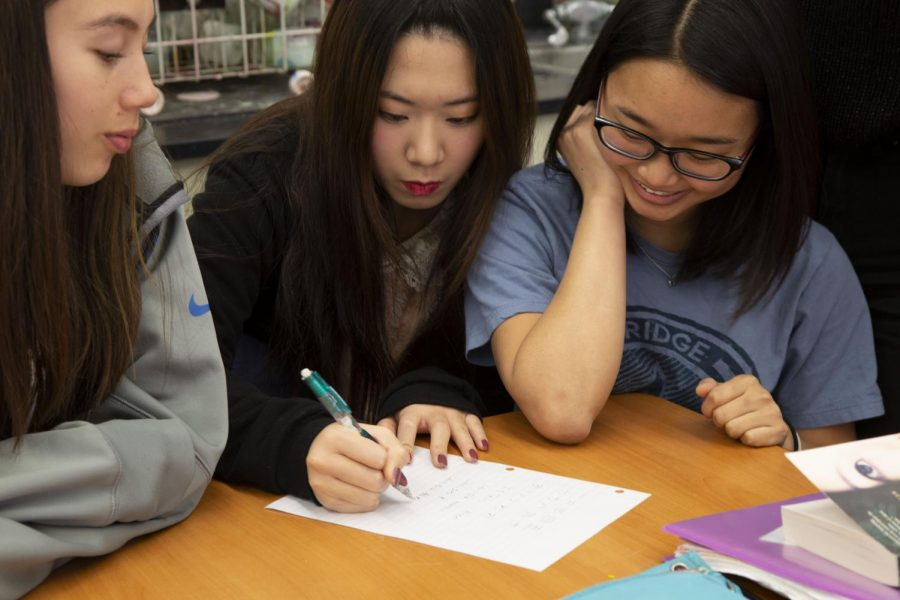 Members of the Chinese Calligraphy Club practice calligraphy during a club meeting.