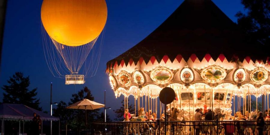 Stretching past the merry-go-round, the Great Park balloon is a landmark Irvine symbol.