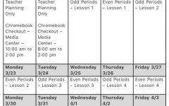 Woodbridge High's distance learning schedule for March 18 to March 27.