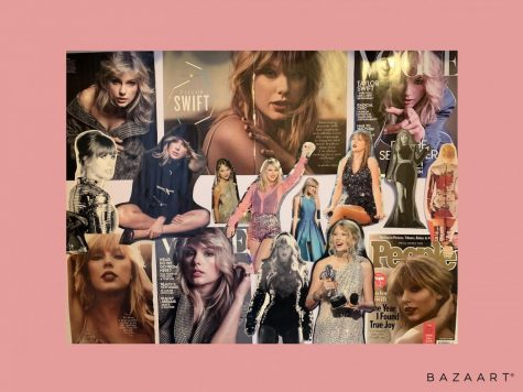 A collage of pictures of Taylor Swift in various magazines, including her 2019 appearance in Vogue, an image of her during her reputation world tour from the Taylor Swift edition of Queens of Pop magazine, and her feature in 2019 People of the Year in People.
