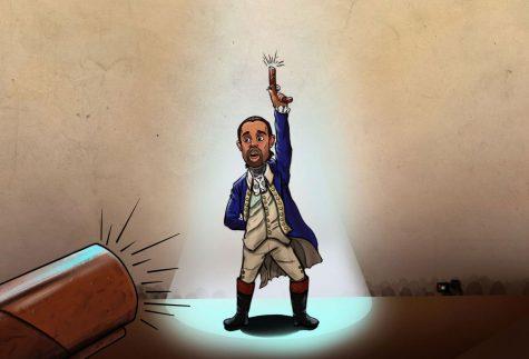 Lin-Manuel Miranda raises his pistol as Alexander Hamilton in the play Hamilton that was released on Disney+ on July 3, 2020.