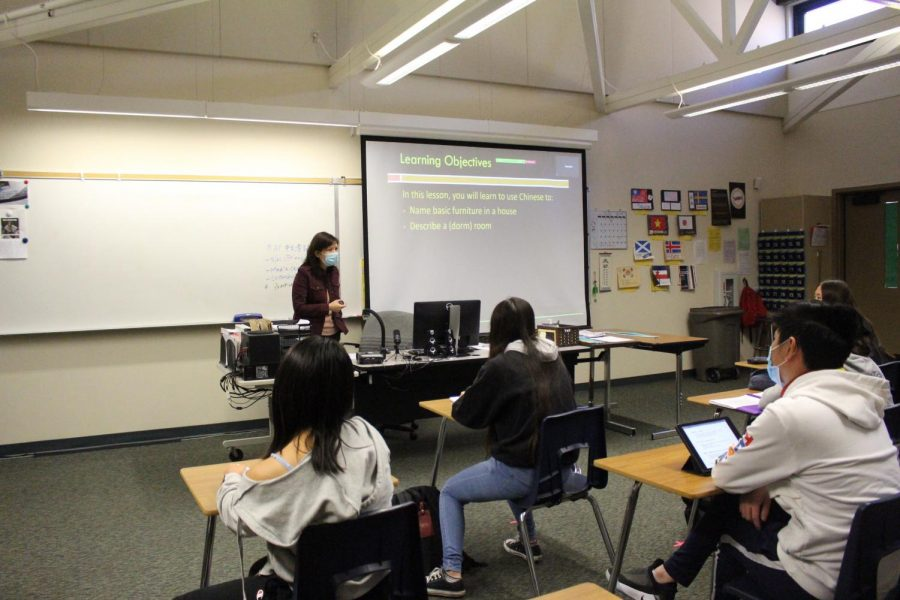 Chinese teacher Joy Chao teaches a hybrid class using learning objectives