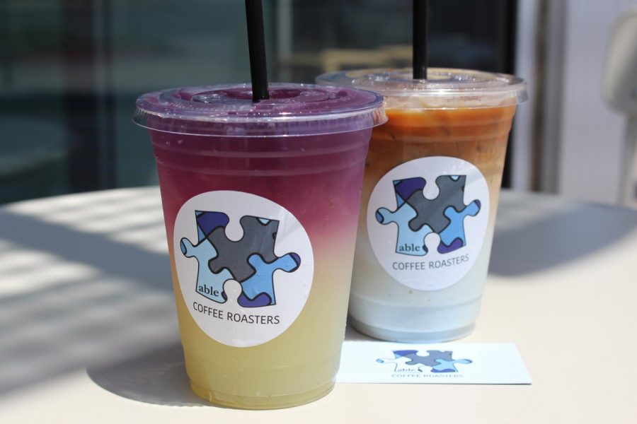 The+Able+Latte+and+the+Butterfly+Pea+Lemonade+are+some+of+the+signature+drinks+at+Able+Coffee+Roasters.